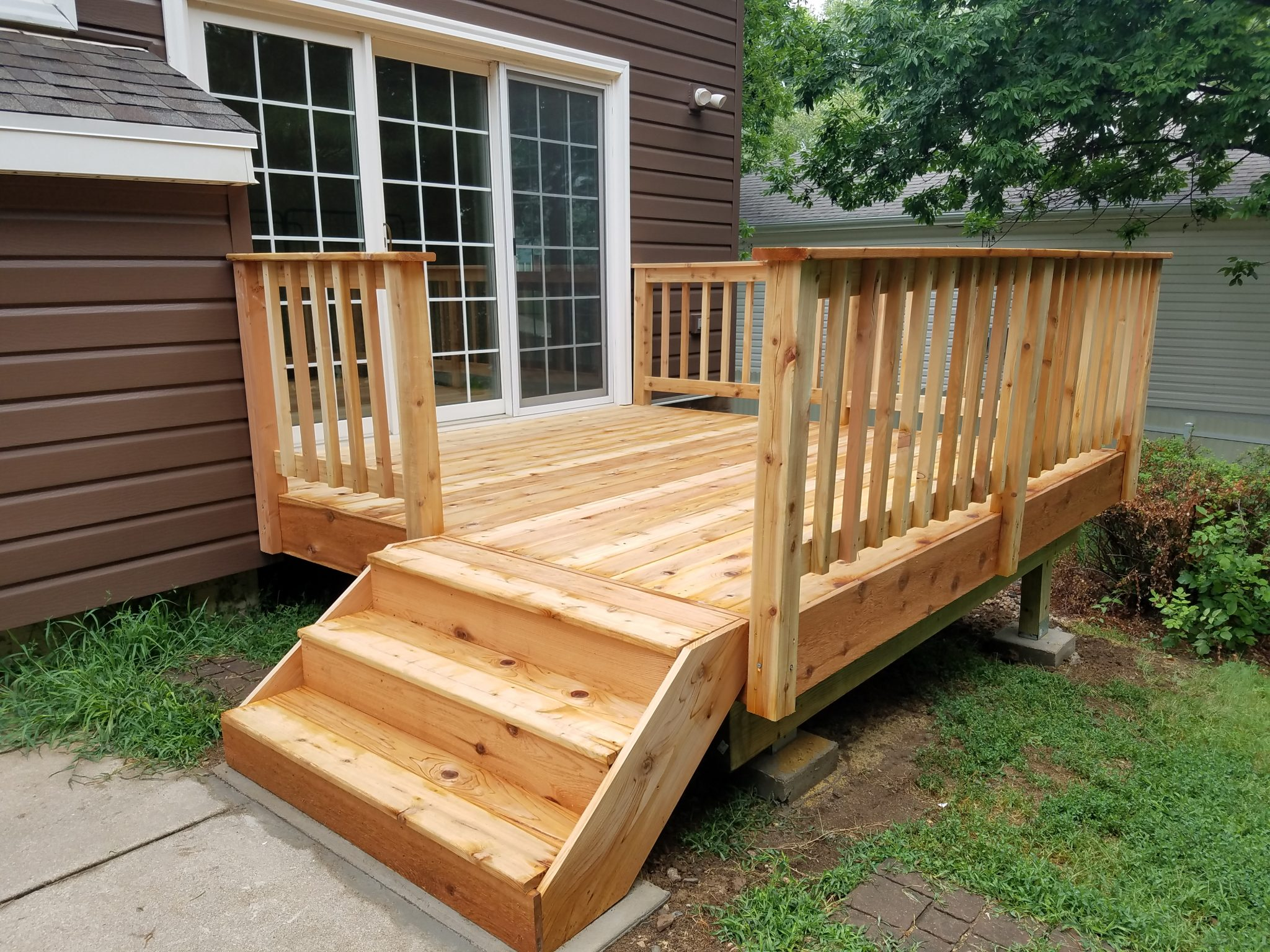 New Cedar Deck Installation